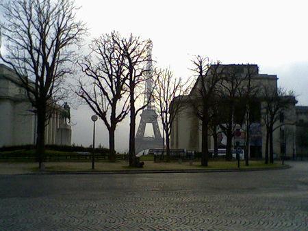 Eiffel Tower in the Paris morning mist