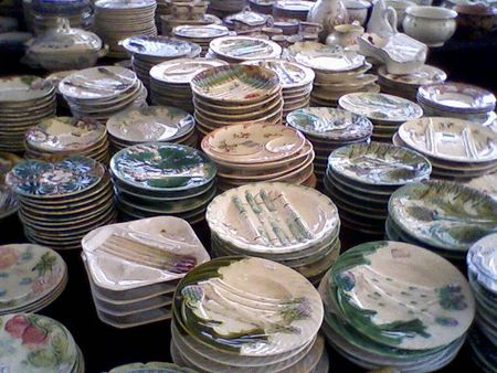 Asparagus plates, antiques brocante at Bastille, 2009