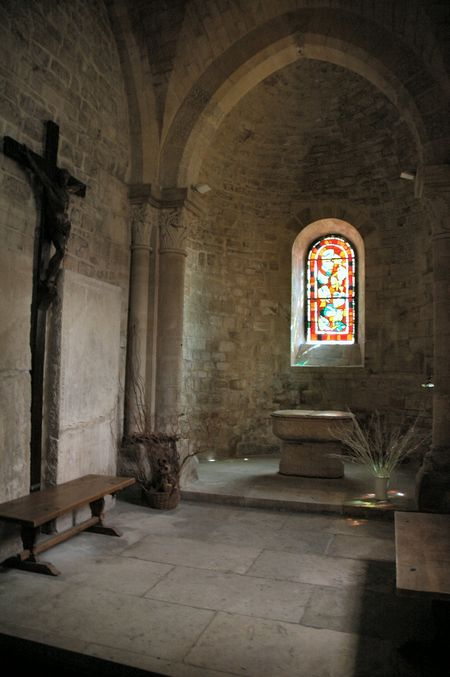 Prayer alcove with stained glass