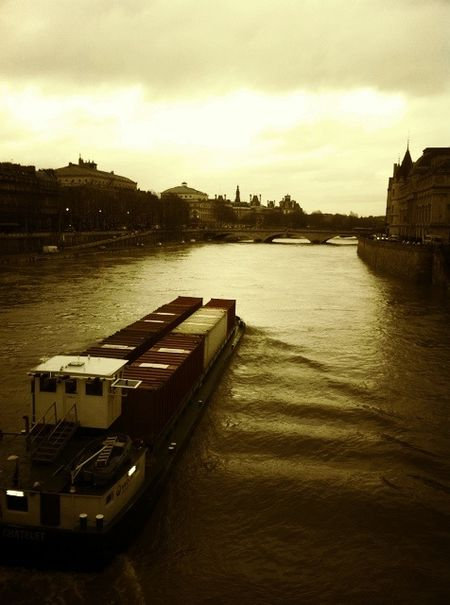Seine flooding, sepia tones