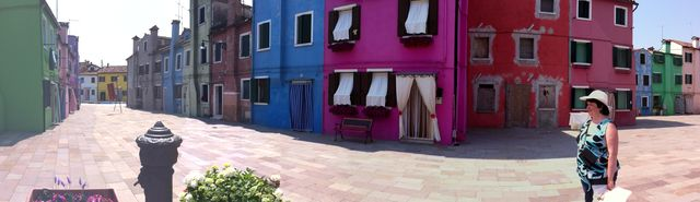 Quite but colorful square in Burano