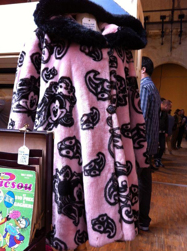 Pink faux fur swing coat